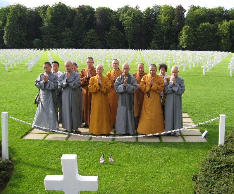 Monks at Patton grave 8 Aug 2010